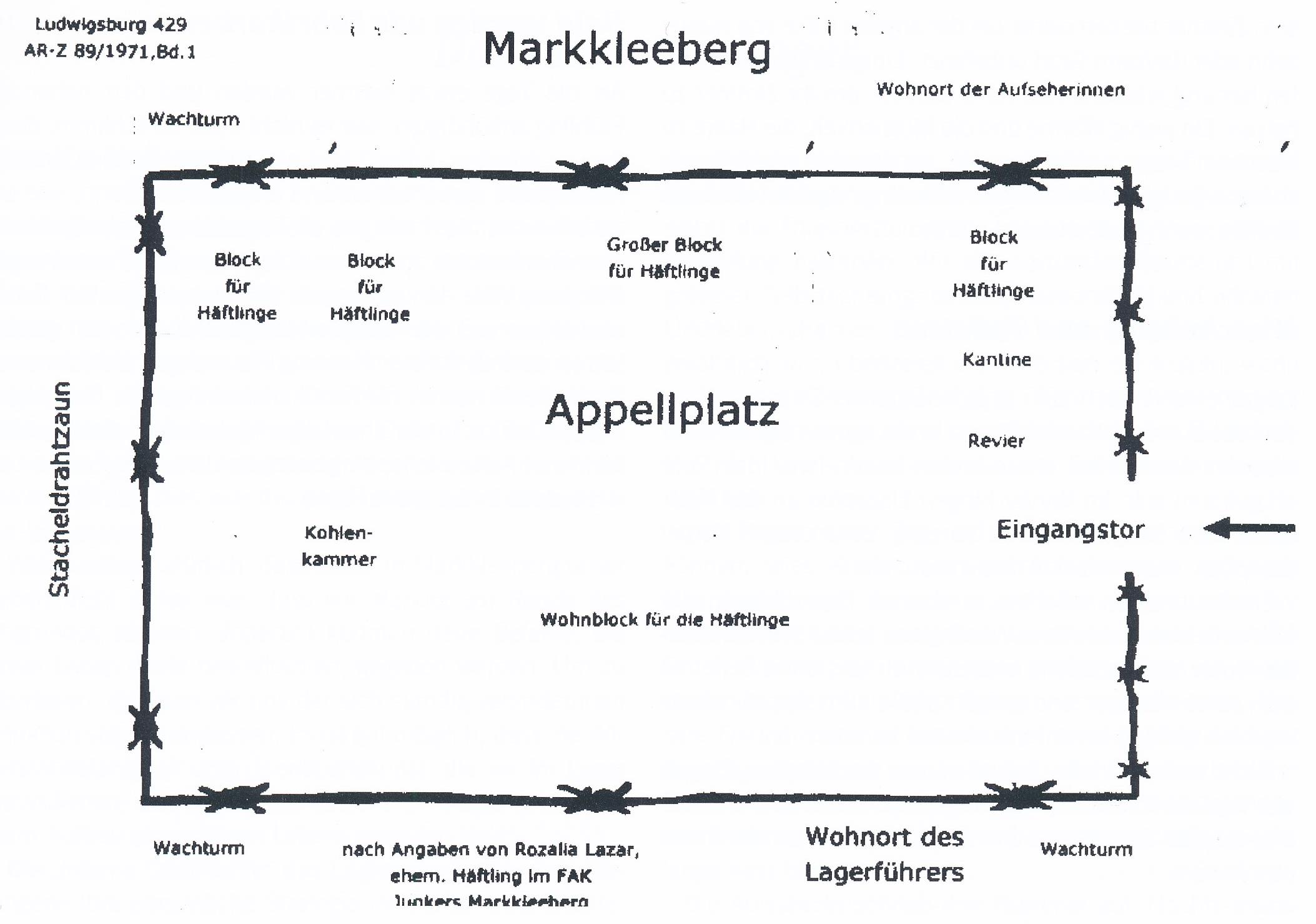 <a id='anker13' href='http://www.versteckte-geschichte-markkleeberg.de/quellenverzeichnis#aussenlager-des-kz-buchenwald13' target='_new'>Abb. 1: Lagerplan nach Angaben einer <br /> ehemaligen Häftlingsfrau</a>